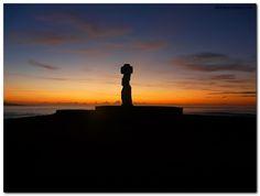 Easter Island sunset with Moai