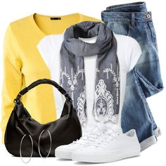 Yellow Cardigan by wishlist123 on Polyvore featuring H&M, Converse, Michael Kors, converse, whitesneakers, waystowear and yellowcardigan