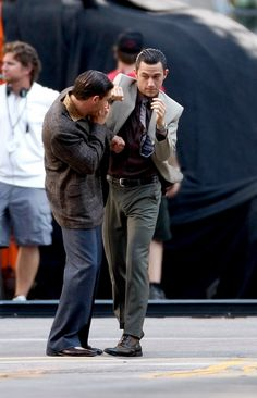 JGL & Tom Hardy on the set of Inception.