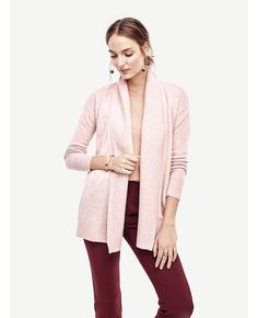 Ribbed Trim Open Cardigan | Ann Taylor