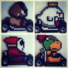 SuperNES Mario Kart players perler beads by smargetts