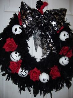 nightmare before christmas gothic xmas wreath christmas wreaths christmas time dark christmas christmas - Gothic Christmas Decorations