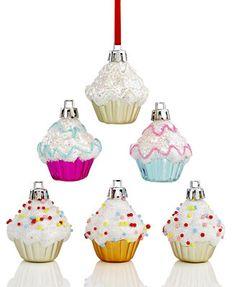 Kurt Adler Set of 6 Mini Cupcake Ornaments