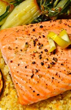 Baked Salmon with Lemon over Couscous with Asian Bok Choy