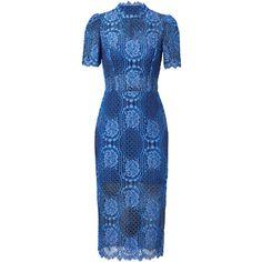 Rental Alexis Delila Blue Sheath (5.665 RUB) ❤ liked on Polyvore featuring dresses, blue, blue lace dress, sheath dress, alexis dresses, lacy dress and high neckline dress