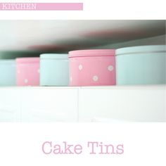 Why not use the dead space on top of your kitchen units to store cake tins that match your colour scheme. I have a bunch of pretty cake tins that are filled with cookie cutters, the cookie cutters are Baking Storage, Craft Storage, Storage Ideas, Cute Kitchen, Kitchen Ware, Kitchen Reno, Kitchen Stuff, Kitchen Ideas, Going To Bed Hungry
