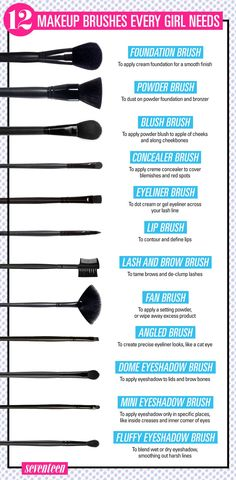 Pinceles de maquillaje make up brushes 12 Makeup Brushes Every Girl Needs Makeup 101, Makeup Guide, Makeup Hacks, Makeup Tools, Makeup Tutorials, Makeup Ideas, How To Apply Makeup, How To Wash Makeup Brushes, Teen Makeup