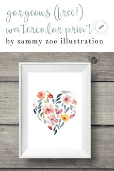 This beautiful watercolor print is free! Perfect for wall art, the floral pattern adds color. Would be beautiful for wedding invitations or other simple décor ideas that are affordable, DIY, and budget friendly! Similar ideas: free watercolor art prints Easy Home Decor, Handmade Home Decor, Cheap Home Decor, Watercolor Heart, Watercolor Print, Diy Wall Decor, Art Decor, Room Decor, Watercolor Art