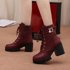 Hot Sale Women Boots Lace Up Flat Biker Combat Wine Red Boots Shoes Buckle Woman Botas Women Martin Boots 2019 New White Thigh High Boots, Black Heel Boots, Red Boots, Black High Heels, High Heel Boots, Heeled Boots, Shoes Boots Combat, Biker Boots, Shoes Boots Timberland