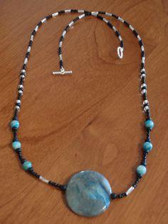 Blue Crazy Lace Agate beaded gemstone necklace silver toggle twisted (F). $12.00, via Etsy, BaileyBeadz