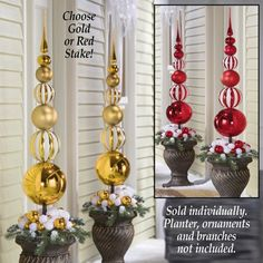 Topiary Stacked Christmas Ornament Ball Topiary Stake from Collections Etc. Christmas Topiary, White Christmas Ornaments, Candy Christmas Decorations, Christmas Porch, Christmas Centerpieces, Christmas Holidays, Christmas Wreaths, Christmas Christmas, Tree Topper Bow