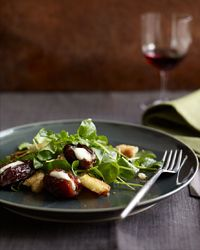 Roasted Mascarpone-Filled Dates with Watercress & Brioche, recipe from Bravo's Top Chef Kelly Liken
