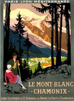 Le Mont Blanc Chamonix Roger Broders Another Roger Broders poster. This one for the French Railway - Paris Lyon Mediteranée Company (PLM), who commissioned Broders' poster art, sponsoring his travel so he could visit the locations he would later paint. Party Vintage, Vintage Ski, Look Vintage, Vintage Colors, Vintage Signs, Vail Colorado, Colorado Mountains, A4 Poster, Poster Prints