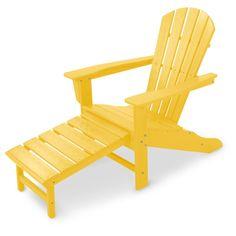 Polywood Adirondack with Hideaway Ottoman (Lemon), Yellow, Patio Furniture (Plastic)