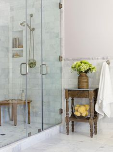 Walk-in showers are a practical, attractive choice for bathrooms large and small. Create a gorgeous walk-in shower with our tips on tile treatments, lighting, layout, storage, and more. #walkinshower #walkinshowerideas #bathroommakeover #showerideas #bhg Modern Bathroom, Small Bathroom, Master Bathroom, Bathroom Showers, Bathroom Ideas, Beautiful Bathrooms, Bathroom Marble, Bathroom Tray, Master Shower