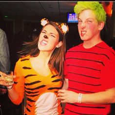 If you and your bestie differ in heights, we recommend this best friend duo. The taller of the two stars as Hobbes by wearing a tiger suit while the shorter chills in a red and black striped shirt as Calvin. Be sure to get the crazy blonde hair just right for this character though.Why it wins: It's unexpected. Calvin and Hobbes have been around awhile. It's not expected for people to think of them nowadays, but when they do it's a blast from the past which is a total win.