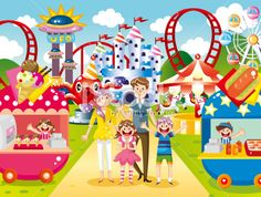 amusement park illustration | ... family at amusement park Royalty Free Stock Vector Art Illustration