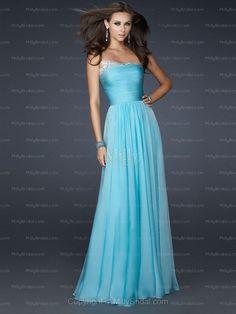 A-line Strapless Chiffon Floor-length Blue Beading Evening Dress