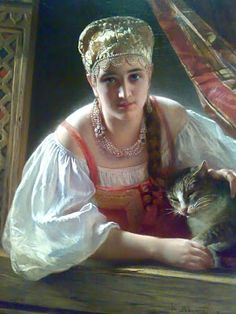 Konstantin Egorovich Makovsky - 'Russian Beauty with Cat', 1865