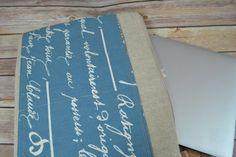 "WAXED Canvas & Linen Laptop sleeve / 13, 15, 17""  Zipper cross body Messenger Strap, Mac book bag with denim blue by Darby Mack"