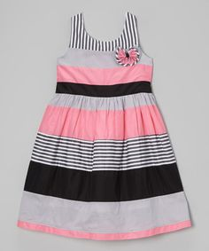 Another great find on #zulily! Gray & Pink Stripe Babydoll Dress - Girls #zulilyfinds