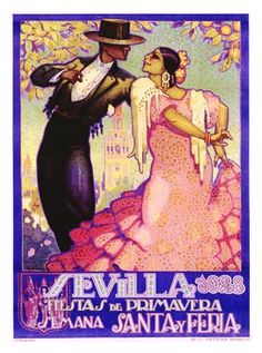 Flamenco, vintage art poster.