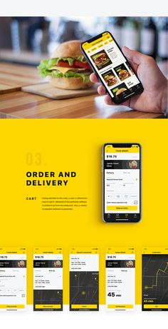 Mobile User Interface Design: Tasty Burger App on Behance Delicious Burgers, Tasty Burger, Delivery Service App, Android App Design, Mobile Ui Design, Ui Design Inspiration, Technology Design, User Interface Design, Portfolio Design
