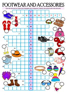 footwear, accessories interactive and downloadable worksheet. Check your answers online or send them to your teacher.