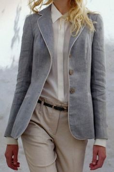 grey blazer, ivory piping