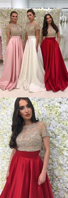 elegant half sleeves satin prom dress with beading, shiny a-line beaded evening dress with pocket