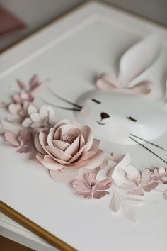 ONE-OF-A-KIND paper art that meets and reflects your dreams, imagination and sophisticated taste. Stunning in detail, our Paper Animals Wall Décor is a perfect statement and gorgeous magic-add to any tiny nursery space. Paper Flowers Craft, Paper Roses, Flower Crafts, Diy Flowers, Paper Crafts, Christening Frames, Baby Girl Christening, Girl Christening Decorations, Box Frame Art
