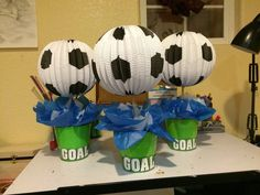 Centerpieces, banquet ideas, baby boy soccer, soccer baby showers, sports b Soccer Birthday Parties, Soccer Party, Sports Party, 5th Birthday, Birthday Ideas, Baby Boy Soccer, Soccer Baby Showers, Soccer Centerpieces, Banquet Decorations