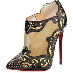Christian Louboutin Mandolina Laser-cut Mesh Bootie, Black/Gold #CL #Louboutins #Heels