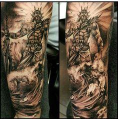Poseidon tattoo - Naughty Needles Tattoos