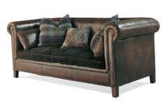 Image Detail For   Ralph Lauren+sofa+leather+velvet+cushion+eclectic+room+home+decor  .