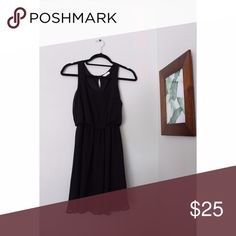 Black scoop dress with keyhole back Black scoop-line flow dress with keyhole back. Sheer and black material. Great condition. Perfect for homecoming, thanksgiving, and cute fall activities. Also great for the spring and summertime. Year round fashion! Lush Dresses Mini