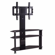 """DFM Tempered Glass TV Stand Cantilever with Bracket for 32""""-55"""". Suitable For Screen Size: 32"""" to 55"""". The bracket is made from solid reinforced heavy-gauge cold steel. Cable management system to hide all messy wires and cables. Stress tested to ensure security and safety. Color:Black,Product dimensions: 43.3''x15.8''x51.2''."""