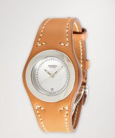 Hermes : light brown leather 'Harnais' strap watch