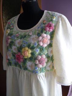 """Купить Платье,ручная вышивка""""Чайная роза"""" Татьяна - комбинированный, цветочный, кремовый, платье, Платье нарядное"""