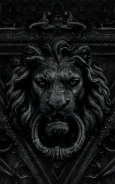 black lion door knocker / color inspiration / black and white / monochromatic / texture / pattern / nature / art / Lion Door Knocker, Door Knockers, Door Knobs, Door Handles, Lion Noir, Sculptures, Lion Sculpture, Iphone 5 Wallpaper, Dark Wallpaper