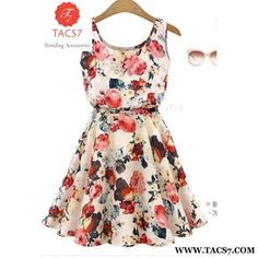 Summer Chiffon Print Casual Beach Dress