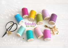 Wool Embroidery Thread - Wool Thread - Rustic Wool Thread - Moire Rustic Wool Thread - Colorful Thread - Wool Thread on a Wooden Spool Wool Thread, Cotton Thread, Wool Embroidery, Wooden Spools, Metallic Thread, Sewing Tutorials, All The Colors, Rustic, Handmade