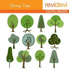 Strong Trees Clip art 07036 Commercial use digital by revidevi, $4.99
