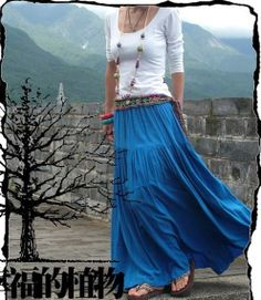 Blue skirt  Long skirt  fashon skirts women Skirts