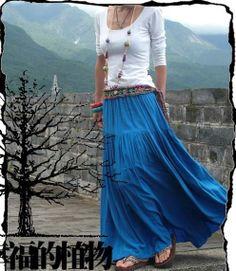 Blue skirt  Long skirt  fashon skirts women Skirts