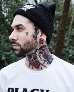 Face Tattoos for Men: Face Tattoo's trend is increasing to the next level. If you are looking to get face tattoo then we can help you with that. Here you will see some great tattoos for the face which men can try. Face Tattoos For Men, Hot Guys Tattoos, Facial Tattoos, Boy Tattoos, Head Tattoos, Tattoo Guys, Tattoo Neck, Portrait Tattoos, Chest Tattoo