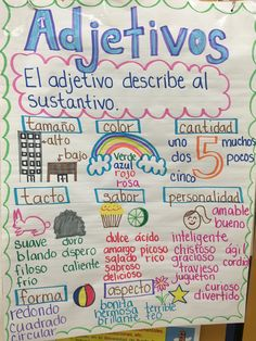 Adjetivos anchor chart Dual Language Classroom, Bilingual Classroom, Bilingual Education, Spanish Classroom, Preschool Classroom, Spanish Anchor Charts, Anchor Charts First Grade, Reading Anchor Charts, Spanish Lesson Plans