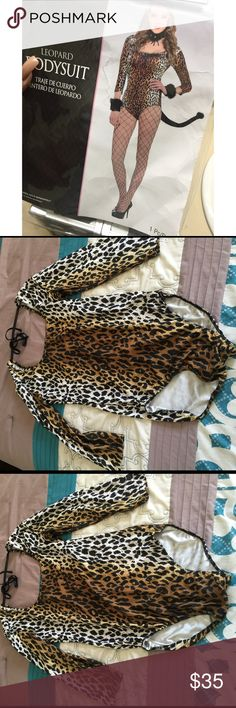 Halloween Leopard bodysuit costume Three quarter sleeve bodysuit . Bodysuit looks great paired with leggings and tutu skirts for a sleek casual outfit or costume. high-stretch poly-spandex , a sexy open back and chic leopard print. Accessories sold separately ! Other