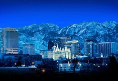 Stock Photograph of Night View Of The Salt Lake City Utah Skyline . Salt Lake City Utah, Salt Lake Temple, Usa Tourism, Utah Usa, Slc Utah, Seen, World Cities, Night City, City Streets