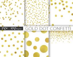 Gold dot confetti digital paper polka dots sparkle Christmas gold foil shine metallic glitter scrapbook invitation printable background